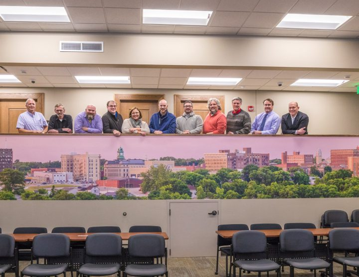 Fort Dodge skyline 32'x4' mural dedication in City Council Chambers