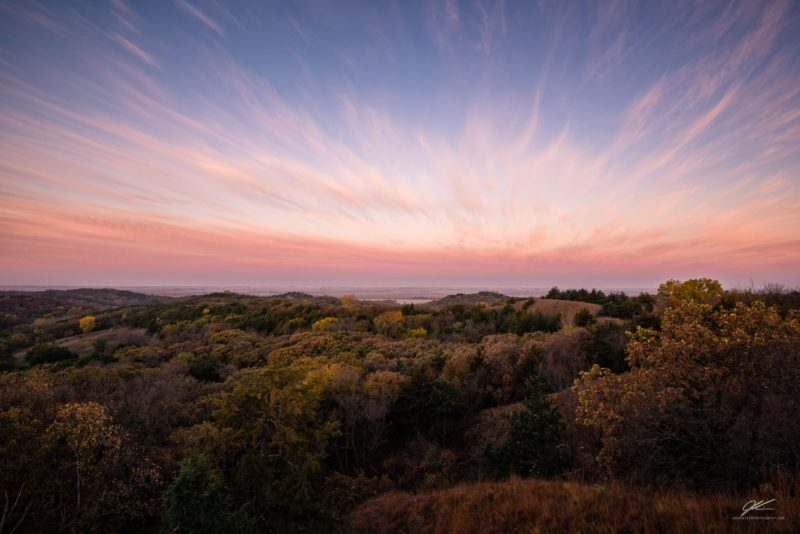 Rays Of Wispy Clouds At Sunrise Over Loess Hills